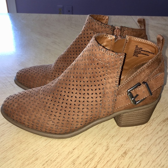 Universal Thread Shoes - Universal Threads Cognac Laser Cut Buckle Booties